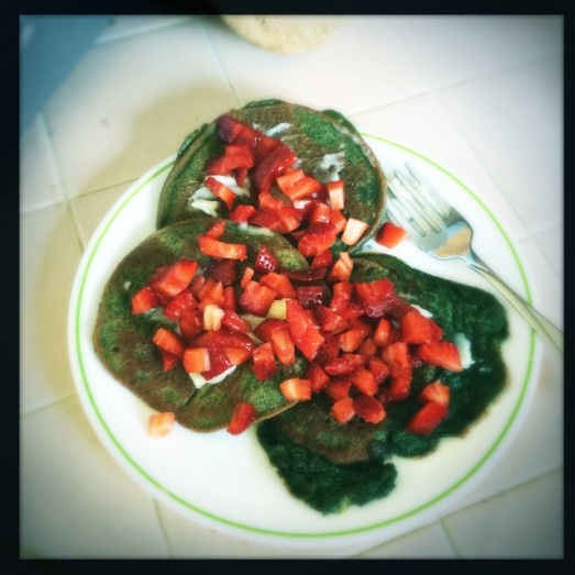 Add strawberries & could be x-mas pancakes!  Also, delicious :)